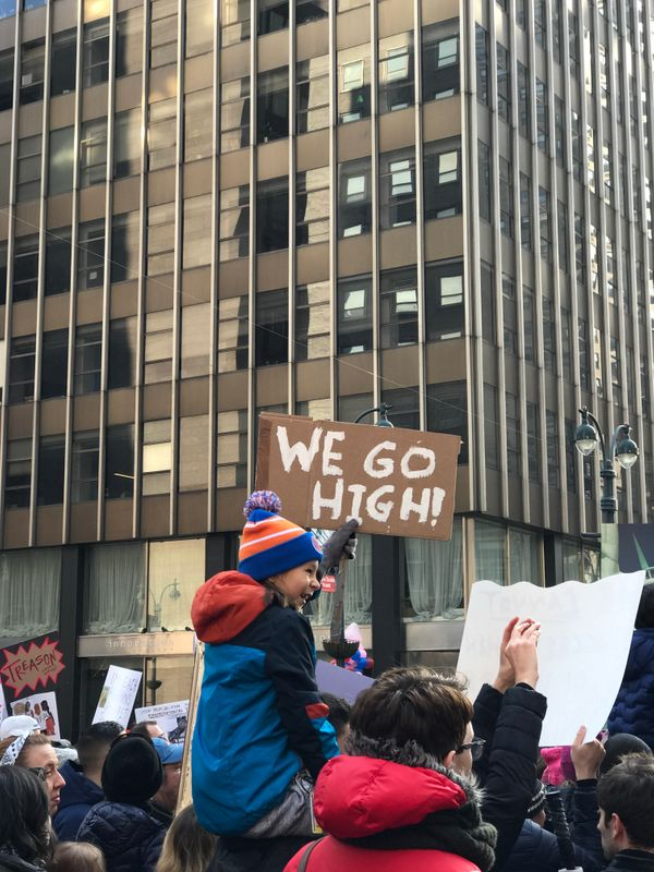 Childrenattend the Women's March in New York City.
