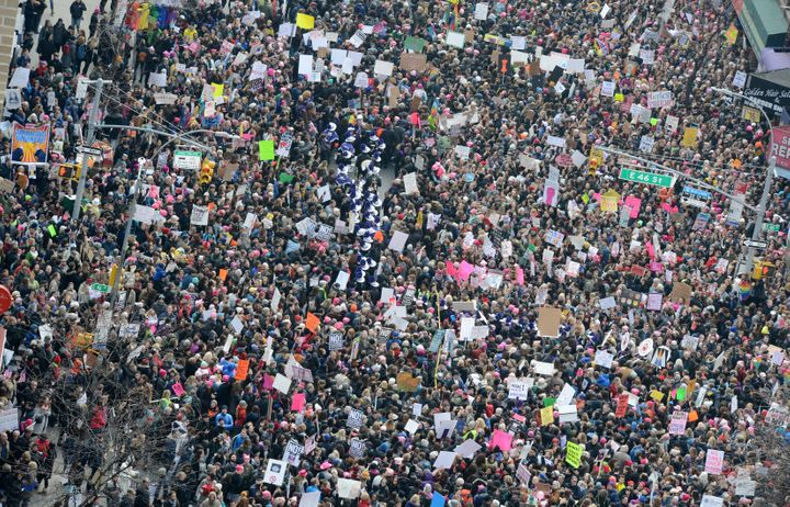 Thousands of participants converge on Dag Hammarskjold Plaza and 2nd Avenue during the Women's March in New York City on Jan.