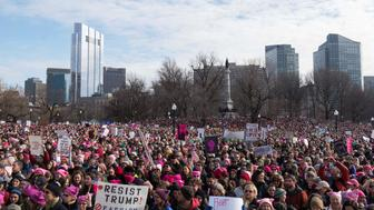 Thousands gather on Boston Common to hear speakers at the Boston Women's March for America in Boston, Massachusetts, U.S., January 21, 2017.     REUTERS/Sam Goresh