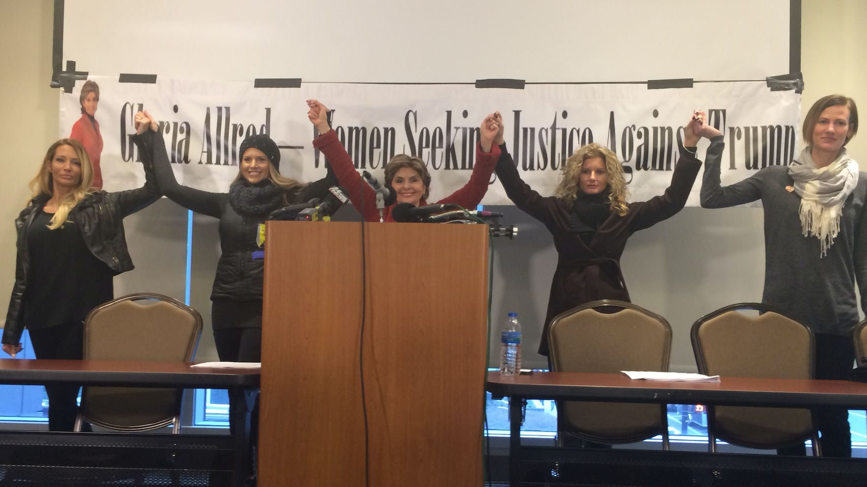 From the left: Jessica Drake, Temple Taggart, Gloria Allred, Summer Zervos and Rachel Crooks.
