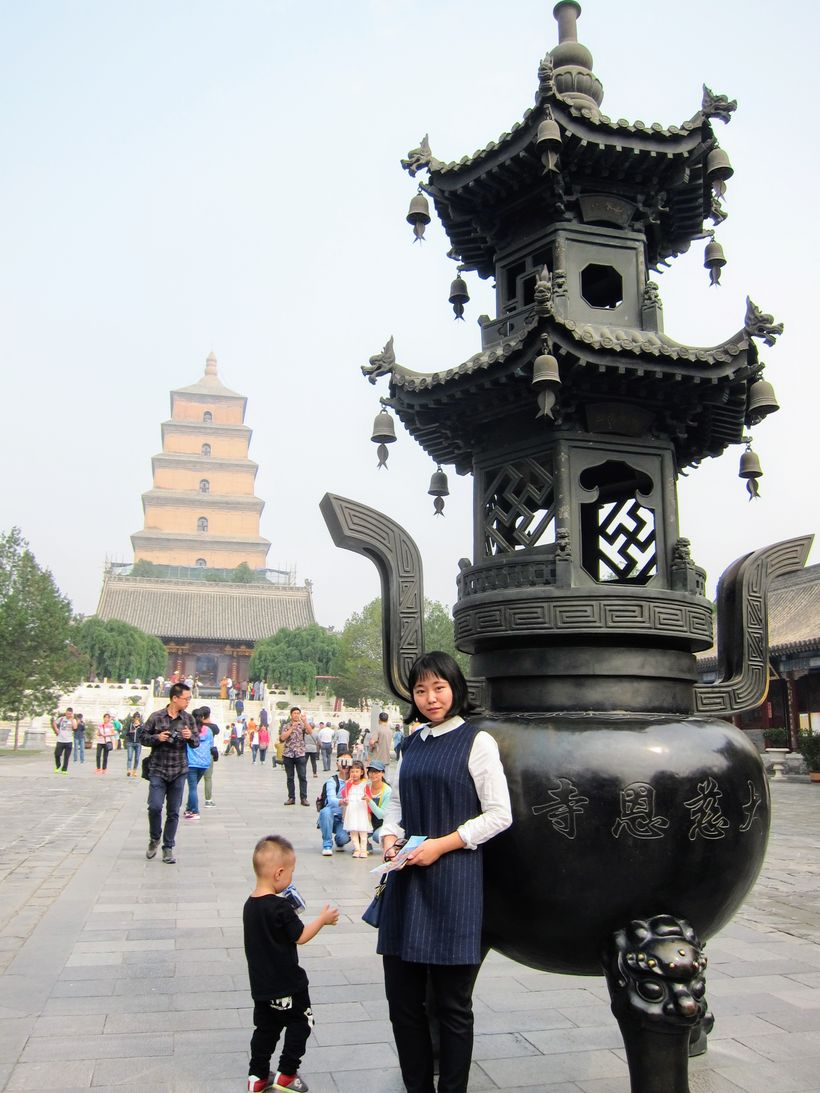 Emily in front of the Giant Wild Goose Pagoda, Xi'an City