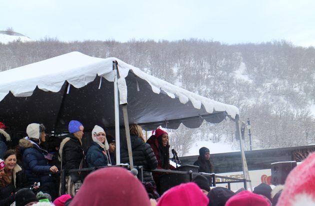 Jessica Williams speaks at Sundance's women's