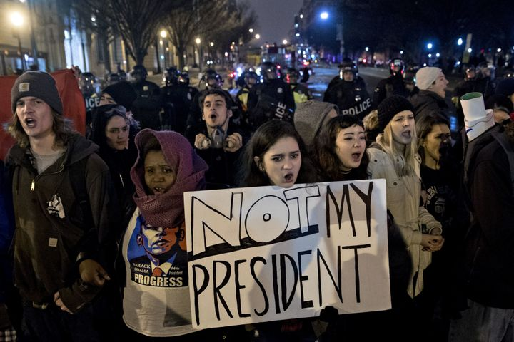 Protesters block K Street during a demonstration in Washington, D.C., on Jan. 20, 2017. Speakers at an event that evening enc