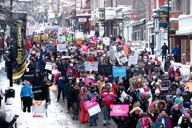 Thousands march down Main Street, one of Sundance's key