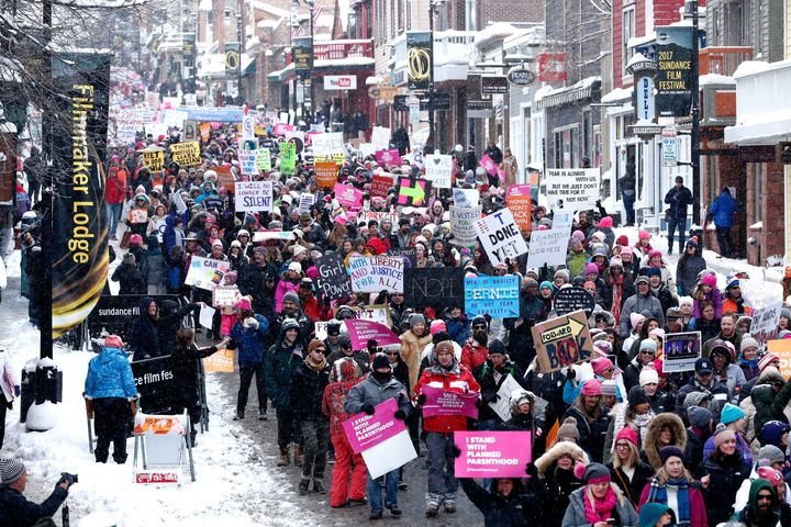 Thousands march down Main Street, one of Sundance's key thoroughfares.