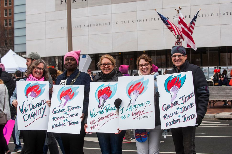 WASHINGTON, DC. - JAN. 21: Organizers put the Women's March on Washington in Washington D.C. on Saturday Jan. 21, 2017. (Phot