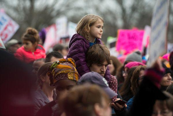 WASHINGTON, DC. - JAN. 21: Organizers put the Women's March on Washington in Washington D.C. on Saturday Jan. 21, 2017. (Phot