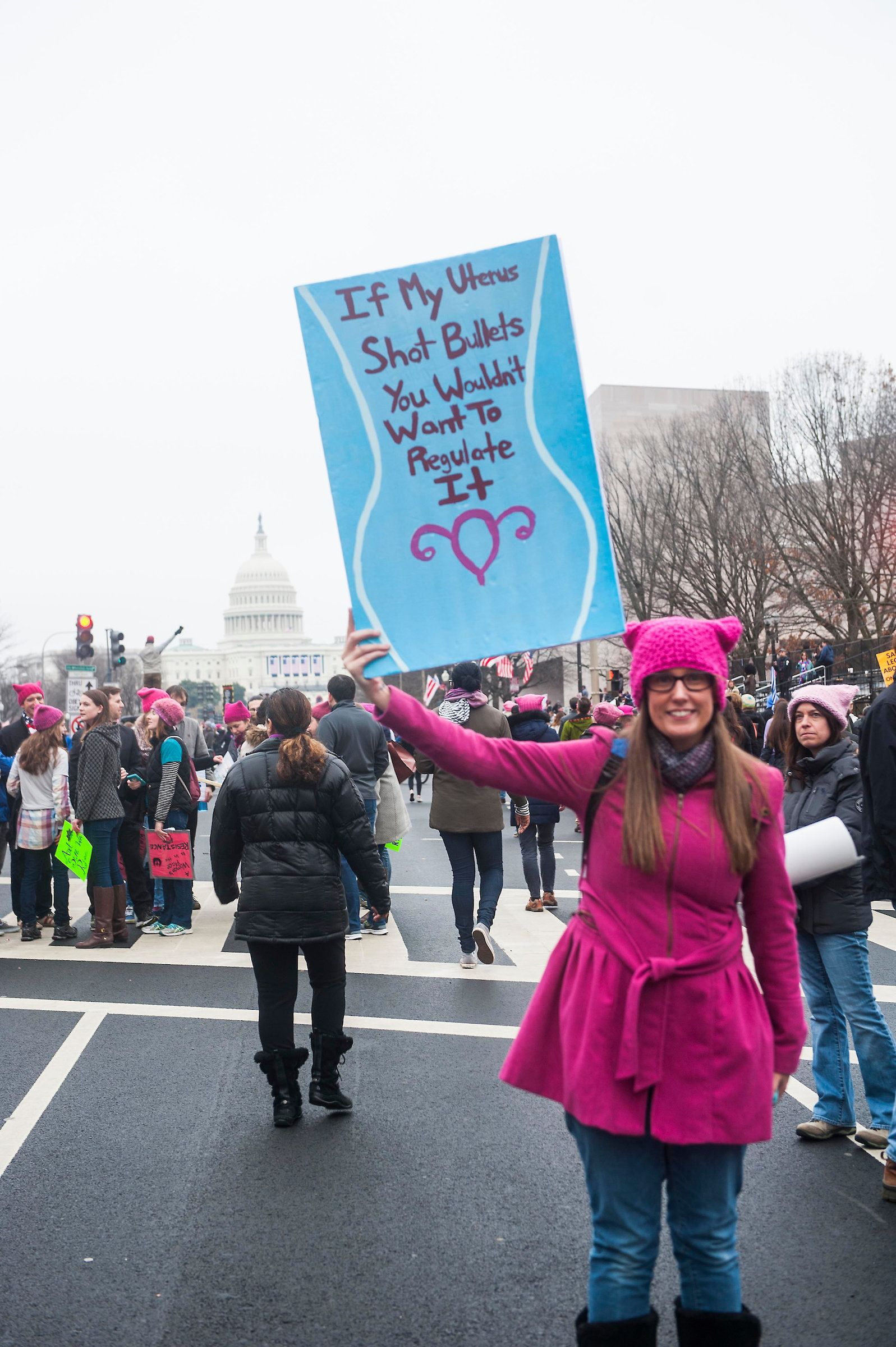 A woman holds a sign at the Women's March on Washington on Jan. 21, 2017.