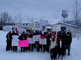 The Willow, Alaska, contingent of marchers in Palmer, where more than 1,000 took to the snowy streets.