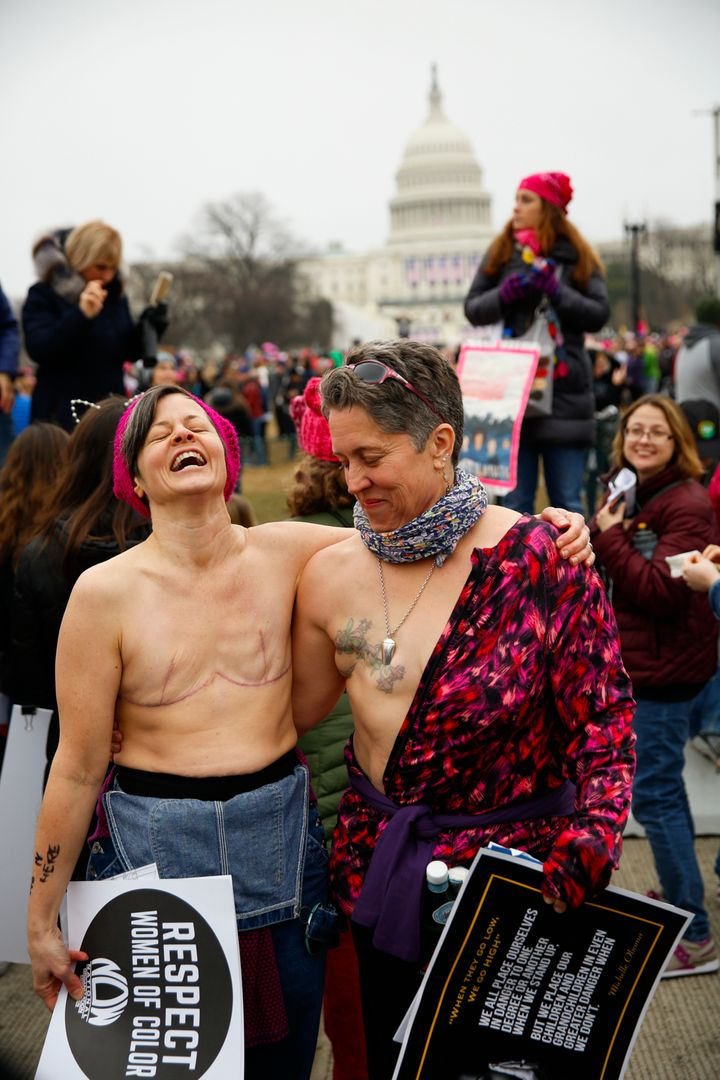 Breast-cancer survivors take the streets of Washington D.C. to protest in the name of women worldwide