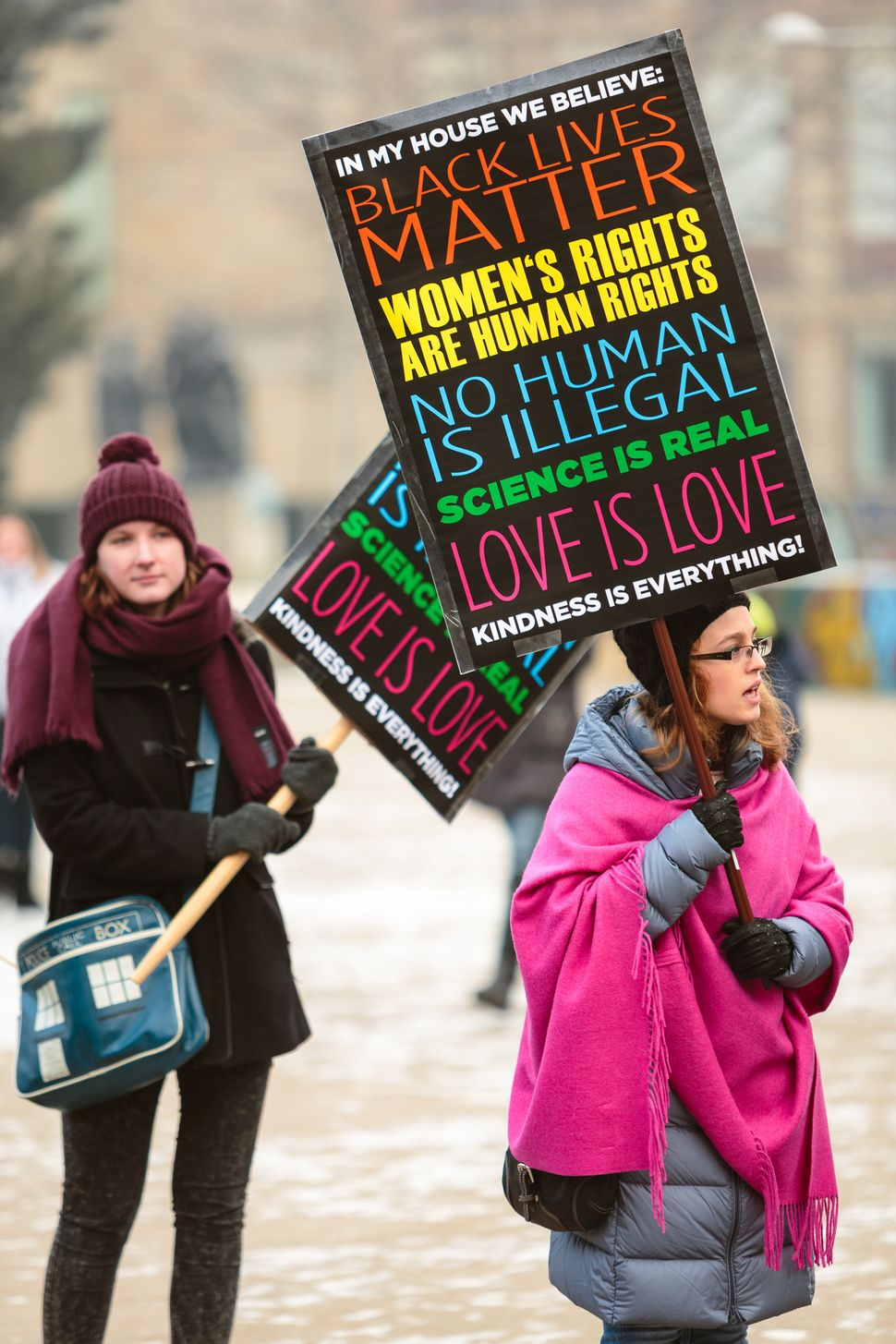 Women attend a protest for women's rights and freedom in solidarity with the Women's March on Washington on January 21, 2017