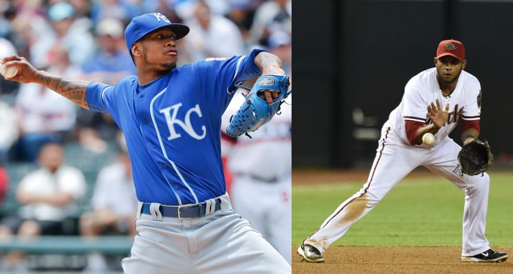 Kansas City Royals pitcher Yordano Ventura (left) and former MLB infielder Andy Marte both died in car crashes on Sunday.