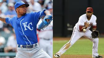 From left: Kansas City Royals baseball pitcher Yordano Ventura and former MLB infielder Andy Marte both died in car crashes on Sunday