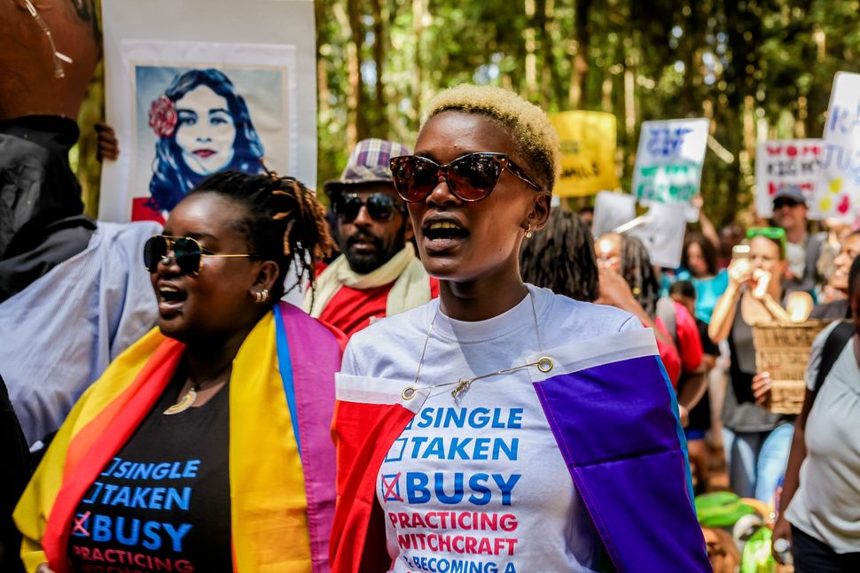 "Women gather to support ""Women March"" held against President Donald Trump in Washington at Karura Forest in Nairobi, Kenya on"
