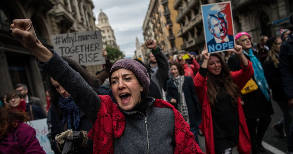 A woman marches in Barcelona, Spain on January 21st.