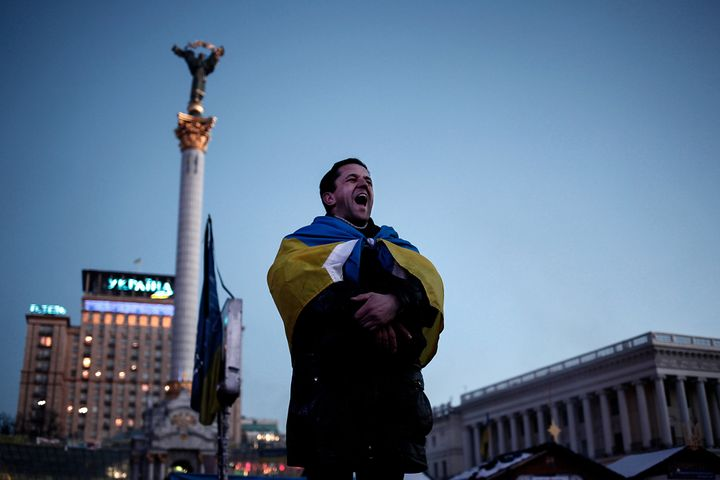 An anti-government protester shout slogans at Kiev's Maidan square on Feb. 4, 2014.