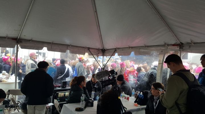 The scene from the press tent at the Women's March on Washington