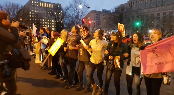 Protesters block traffic at Vermont Avenue and K Street in D.C. on Saturday.