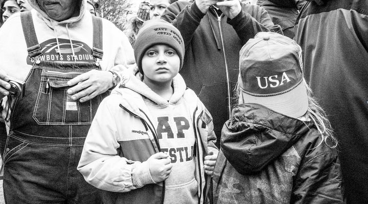 Boy in stocking MAGA cap