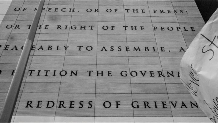 """I'm always moved by this inscription on the Newseum. Especially when I'm in the process of doing what it says."""