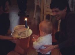 Louis Tomlinson Beams As He Watches One-Year-Old Freddie Blow Out Birthday Candle