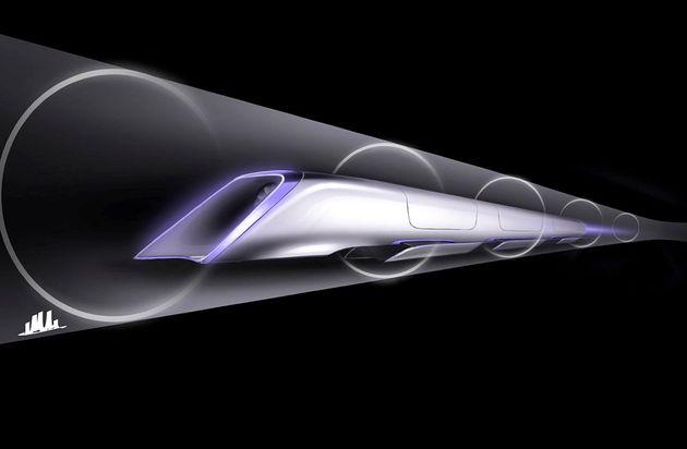 A concept rendering of Elon Musk's Hyperloop transport