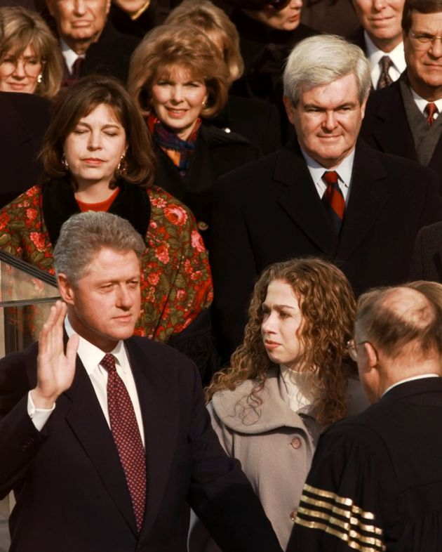 President Bill Clinton is sworn in for his second term by in 1997 as Chelsea looks