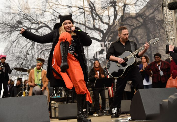 "Madonna performing ""Express Yourself"" on Saturday."