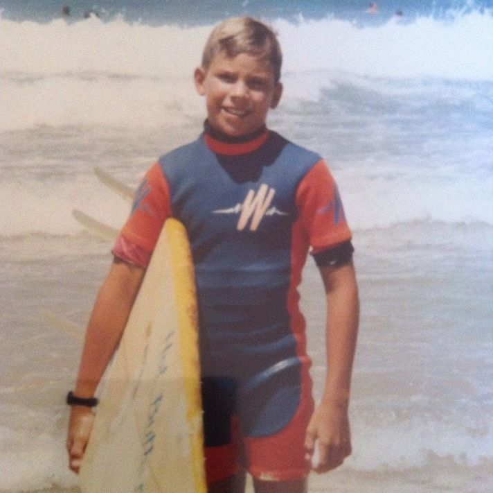 Hayden with his first surfboard