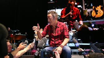 PERTH, AUSTRALIA - JANUARY 22:  Bruce Springsteen talks with the media following his sound check at Perth Arena on January 22, 2017 in Perth, Australia.  (Photo by Paul Kane/Getty Images)