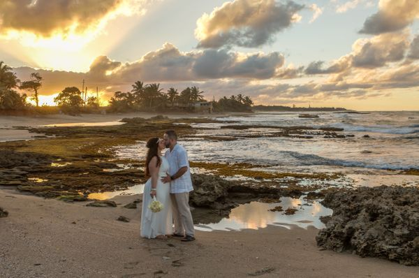 """Francesca and Marcos eloped to Puerto Rico for an intimate beach wedding, and Mother Nature came through with her gift"