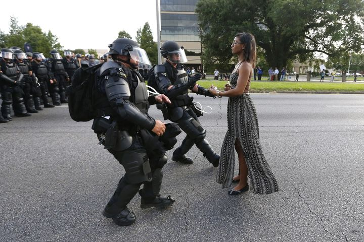 Ieshia Evans became an emblem of the Black Lives Matter movement after this incident in July 2016.