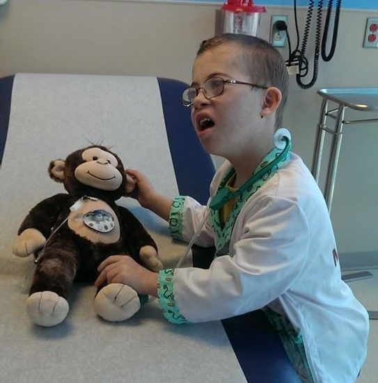 My son, Ben, at the oncology clinic, playing doctor