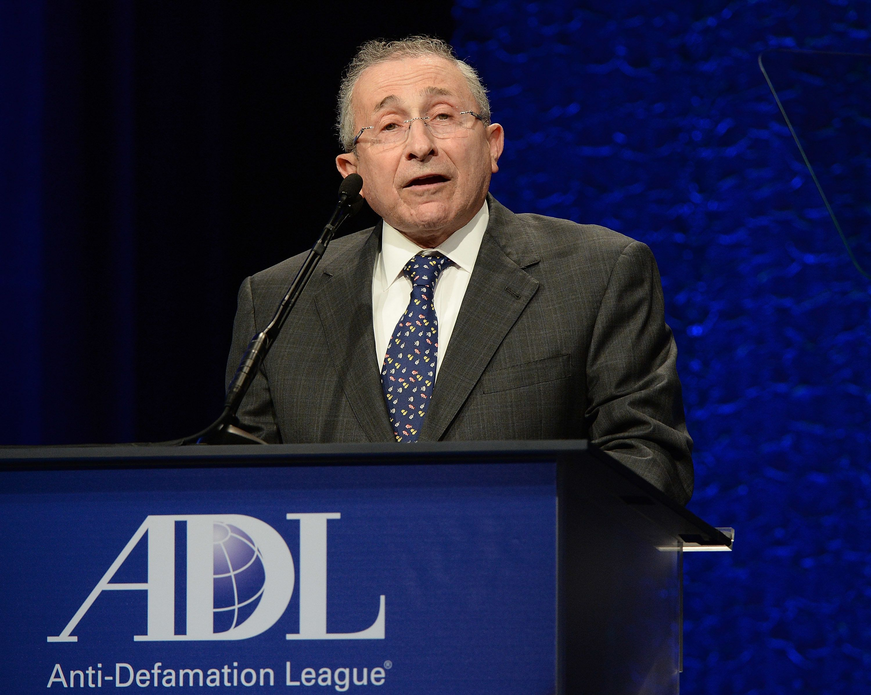 BEVERLY HILLS, CA - APRIL 20:  Simon Wiesenthal Center Dean and Founder Rabbi Marvin Hier presents onstage at the Anti-Defamation League's 2015 Entertainment Industry Dinner at The Beverly Hilton Hotel on April 20, 2015 in Beverly Hills, California.  (Photo by Michael Kovac/WireImage)