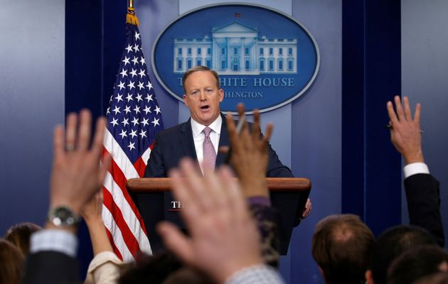 White House spokesman Sean Spicer holds a press briefing at the White