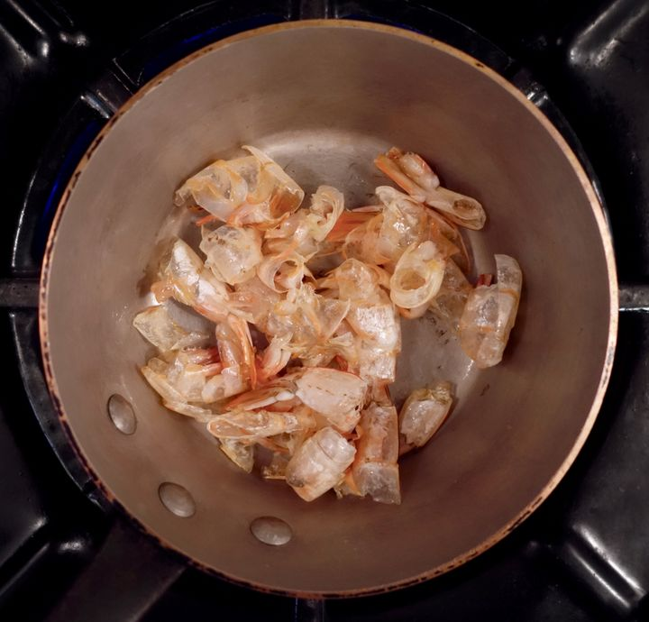<p>The shrimp shells, sauteed until pink</p>
