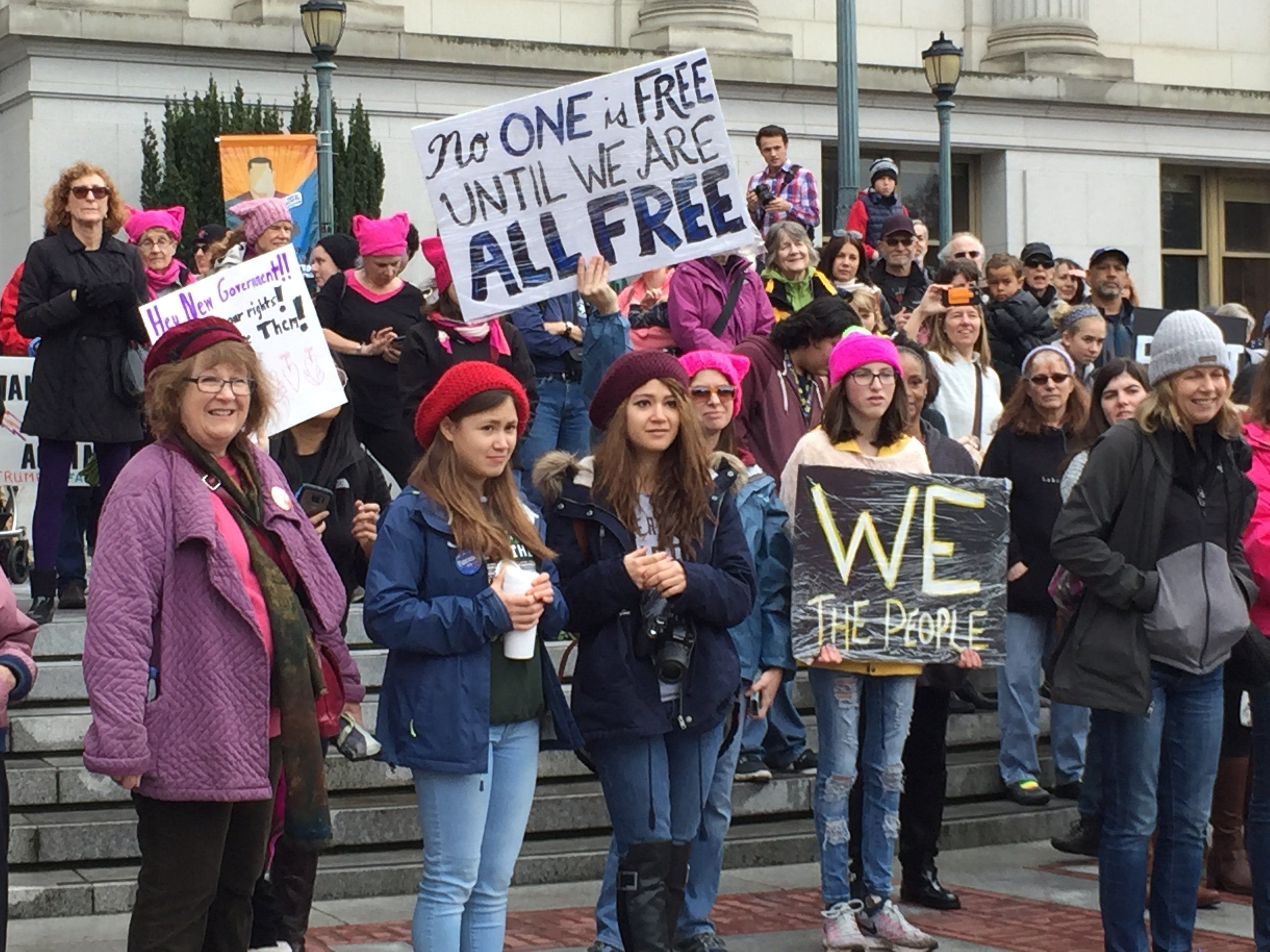 Women gathered in Berkeley on Saturday in solidarity with the Women's March on Washington.