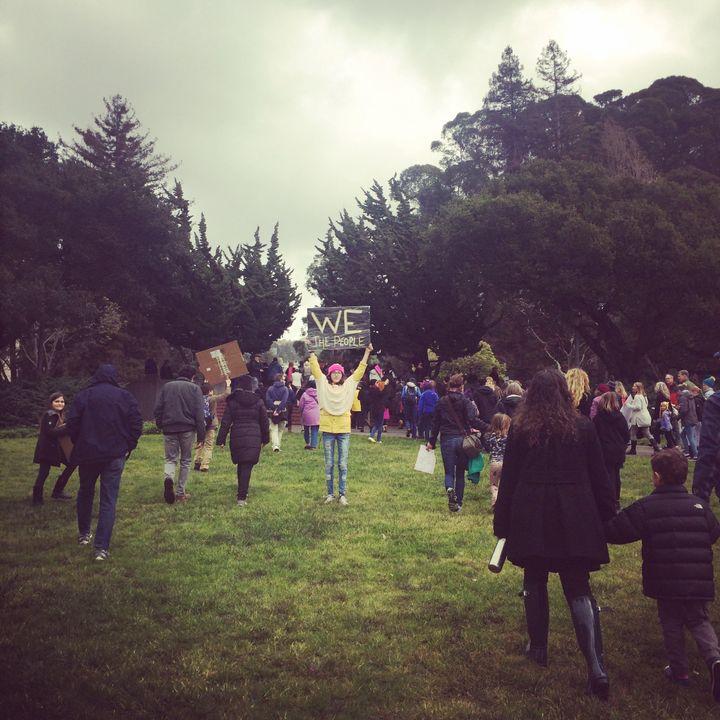 Protesters met on Memorial Glade at U.C. Berkeley's campus.