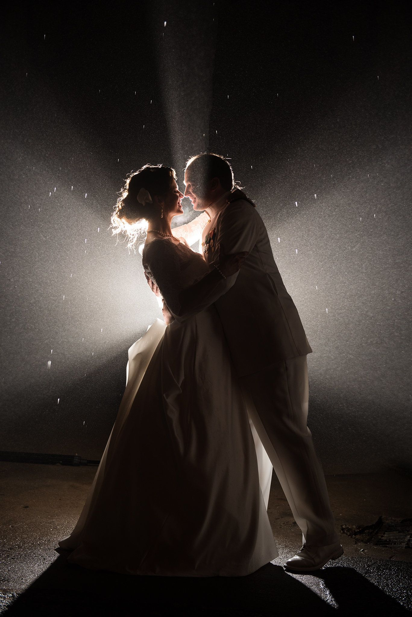 """We captured a fun night photo of our couple Rebecca Johnston and Marcus Porwoll in the mist and sleet. They were such t"