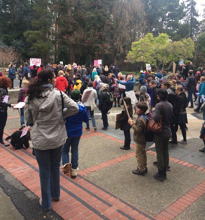 Marchers on U.C. Berkeley's campus.