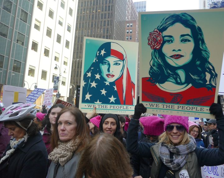 Protesters attend the Women's March to protest President Donald Trump in New York, USA on January 21, 2017.