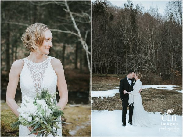 """Although the weather was frigid, these two trooped through the cold for some gorgeous outdoor photos at their venue Full Moo"