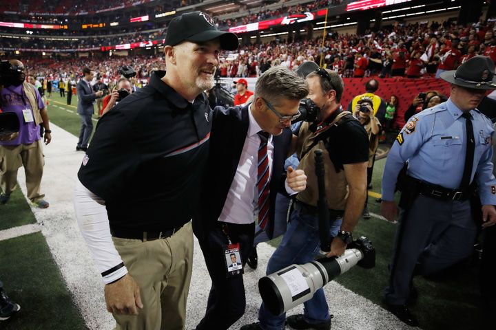 Falcons head coach Dan Quinn (left) and GM Thomas Dimitroff have helped forge one of the NFL's premier young defensive units.