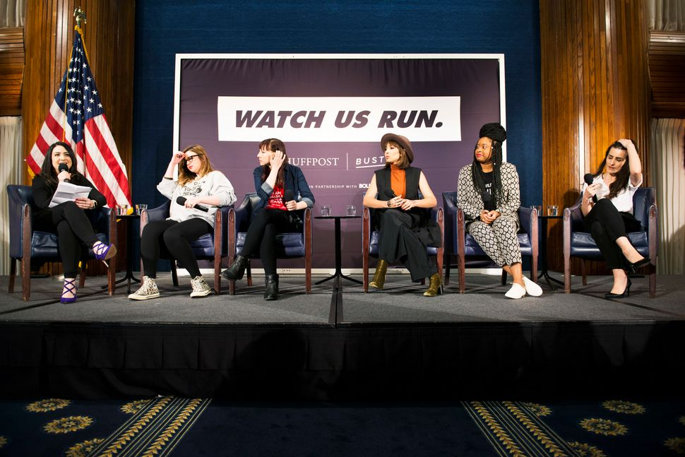WASHINGTON, DC - JANUARY 20: (L-R)  Emma Gray, Amber Tamblyn, Erin Darke, Jackie Cruz, Phoebe Robinson and Sophia Wallace spe