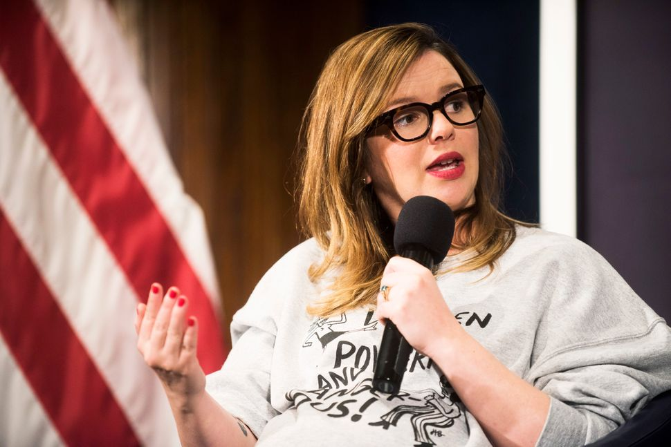 "WASHINGTON, DC - JANUARY 20: Amber Tamblyn speaks during a Huffington Post/Bustle event called ""Watch Us Run"" at the National"