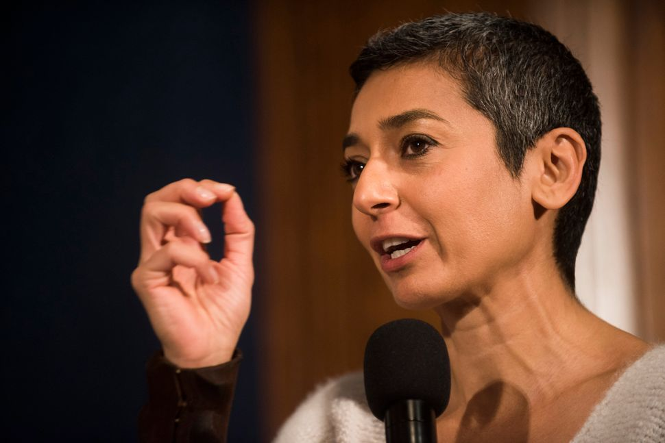 "WASHINGTON, DC - JANUARY 20: Zainab Salbi speaks during a Huffington Post/Bustle event called ""Watch Us Run"" at the National"