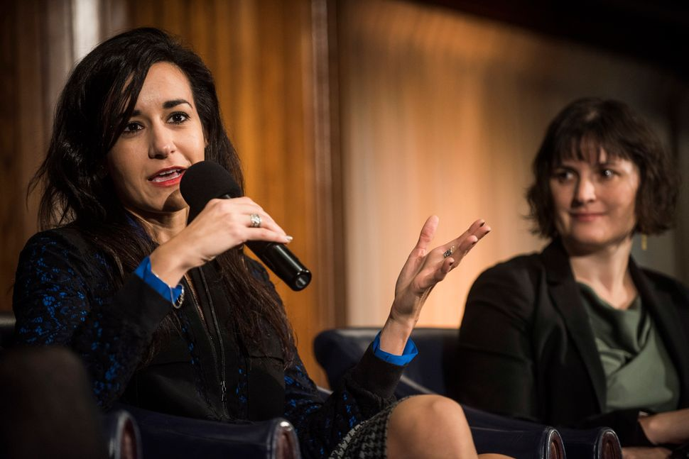"WASHINGTON, DC - JANUARY 20: Marilinda Garcia and Sandra Fluke speak during a Huffington Post/Bustle event called ""Watch Us R"