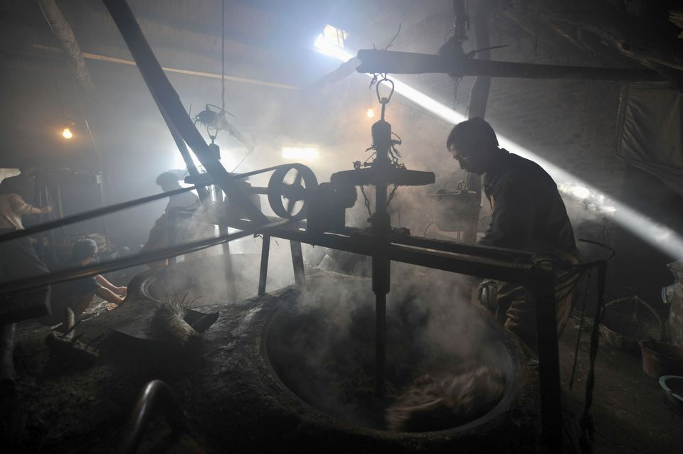 A laborer uses a machine to stir crushed peanuts at a workshop in Rizhao. Dec. 11,