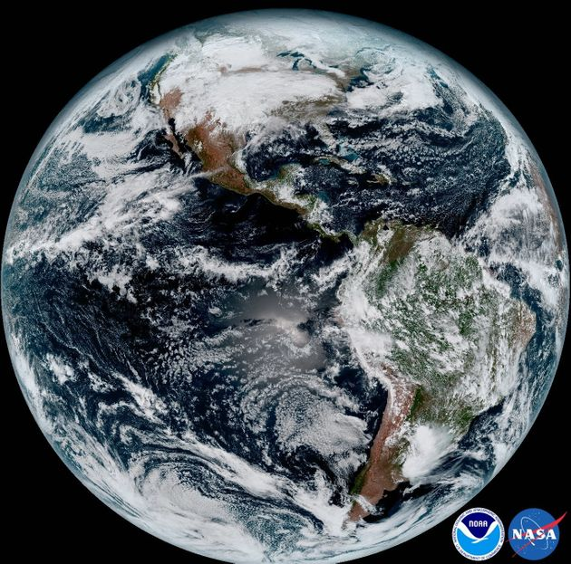 This composite image was taken on Jan. 15. The satellite can capture an image of the Earth stretching...