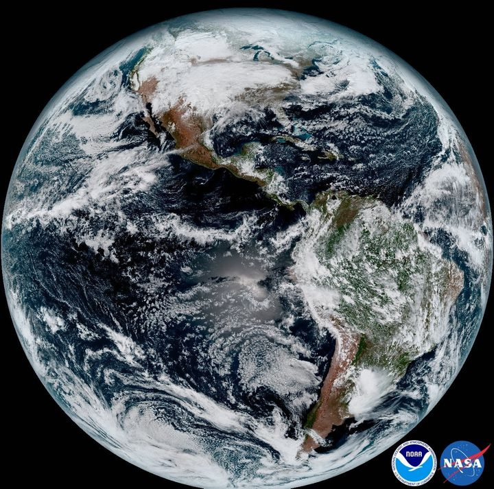 This composite image was taken on Jan. 15. The satellite can capture an image of the Earth stretching from West Africa (far right) all the way to Guam in the Western Pacific (far left).